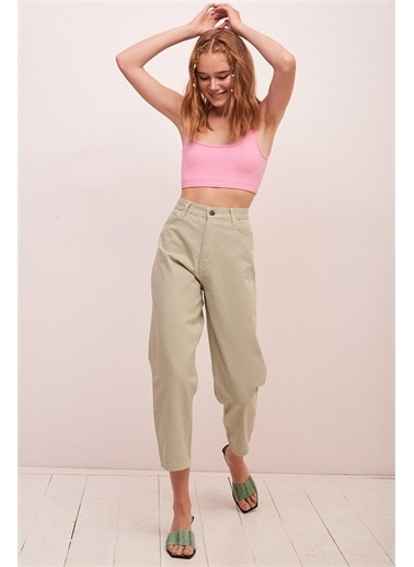 Never More Yüksek Bel Regular Fit Jean Yeşil Yeşil